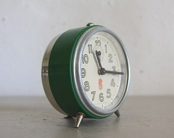 Antique French Smi Alarm Clock Upcycled  Green