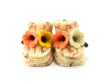 Hand Knitted Baby Booties with Crochet Bell Flowers - Yellow and Orange, 6- 9 months