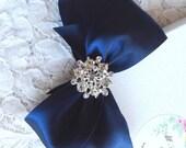 Hair Bow, Navy Satin with Rhinestone Center, Navy Blue Flower Girl Hair Bow, Hair Bow, Navy Satin Pageant Bow, Christmas Hair Bow