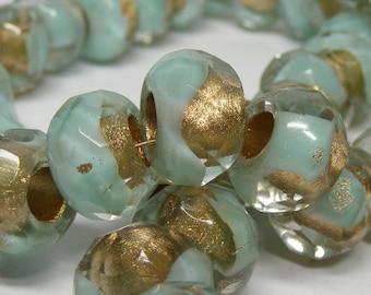 Czech Glass Bead (6) -Czech Glass Rollers 12x8mm . green turqoise lined  (bk8)