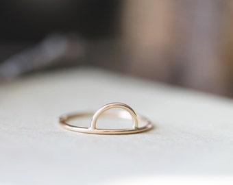 Rise . Available in sterling silver or gold filled . Half Circle Ring