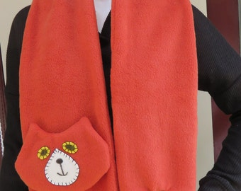 Rust Brown Flat Cat Fleece Scarf - Limited Edition