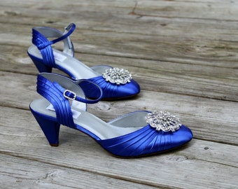 "Royal Blue Wedding Shoes low heel - 2.25"" Wide sizes also available"
