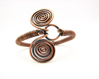 Copper Bangle Bracelet Spiral Wire Wrapped Jewelry Metal Work Hammered Artisan Made