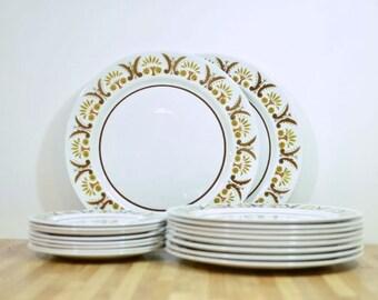 Mikasa Rick Rack Midcentury Dinnerware Set Serving for Eight Bonus Chop Plate Platters