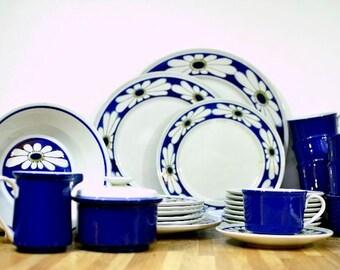Midcentury Mikasa Dinnerware Set: Epiqure-One Tivoli Pattern D4501 Blue Daisy Set Six and More Sugar, Creamer, Plates, Bowls, Cups, Saucers