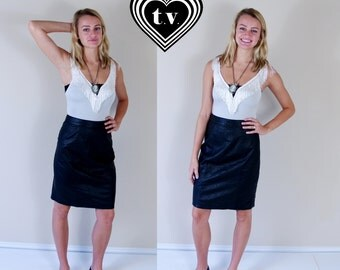 vtg 80s BLACK high waisted LEATHER SKIRT Medium tight rocker fitted punk soft motorcycle knee length indie dress pencil