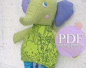 Elephant sewing pattern PDF - Stuffed toy Elephant Softie Nursery decor DIY tutorial - Make your own Elephant PDF - Elephant baby toy
