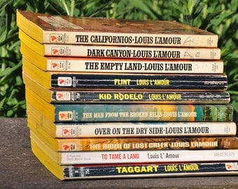 Louis L'amour books, Californios, Dark Canyon, Empty Land, Flint, Kid Rodelo, Man from Broken Hills, Over on the Dry Side, Taggart etc...