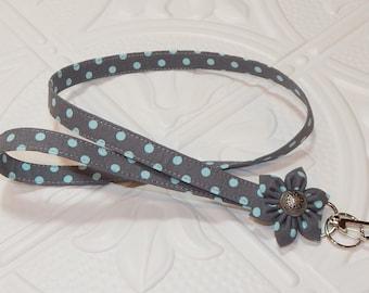 Lanyard - Id Badge Holder - Id Holder - Key Lanyard - Teacher Lanyard - Fabric Lanyard - Keychain - Gray With Blue Polka Dots