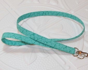 Lanyard- Fabric Lanyard - Teacher Lanyard - Badge Holder - Key Lanyard -  Tonal Blue Green
