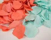 Coral and Aqua Mint   200 Rose Petals, Artificial Petals, Wedding Decoration, Flower Girl Petals, Shower, Table Scatter