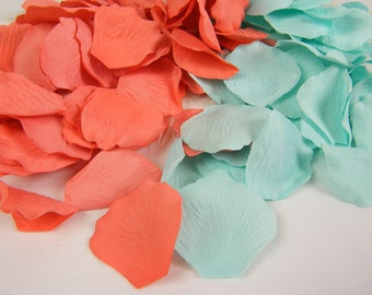 Coral and Aqua Mint | 200 Rose Petals, Artificial Petals, Wedding Decoration, Flower Girl Petals, Shower, Table Scatter