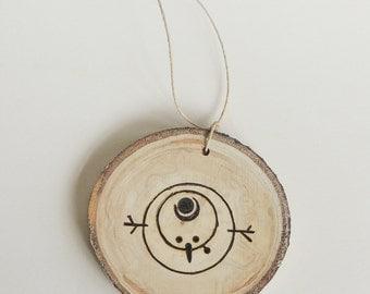 Wood Slice Snowman Ornament, Aspen Slice Ornament, Woodburned Snowman, Wood Slice Ornament, Natural Christmas, Rustic Christmas