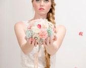 Ready to ship Bridal Bouquet, wedding bouquet, fabric flowers bouquet, mint bouquet, peach bouquet