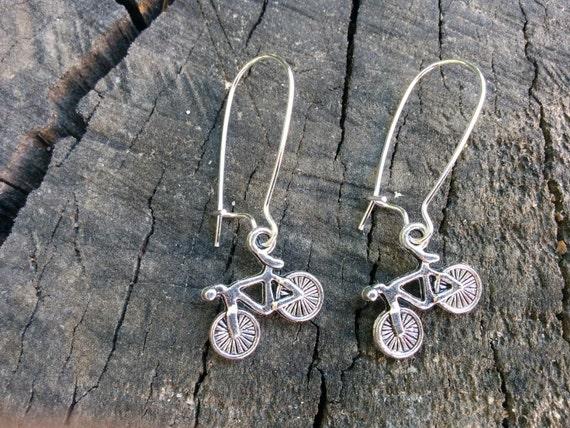 Bicycle earrings, bike earrings, bicycle long earring, long earrings,dangle earrings, sport earrings, kawaii earrings, sterling silver