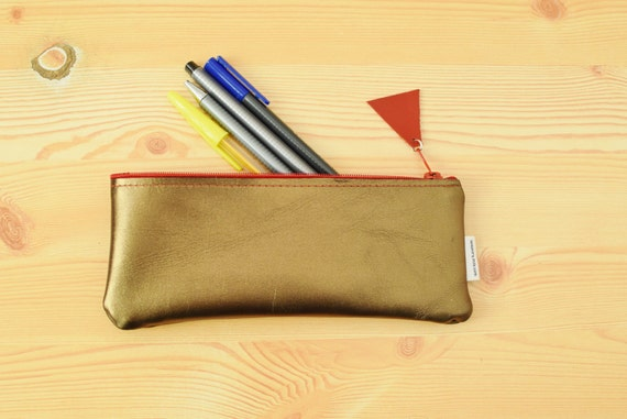 Leather pencil case, leather pencilcase, leather pouch, golden leather, golden pencil case, leather case,leather coin purse,gold pencil case