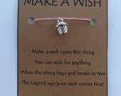Solid 3d Cupcake Cake Muffin WISH STRING Silvertone Bracelet String Friendship Charm Suerte Deseos Lucky Amulet Cord Color Choice