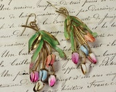 Two Can Play That Game- Antique Austrian Enamel Tulip Earrings- Upcycled Assemblage Vintage- Pastel Floral Drop Earrings- Gold Plated