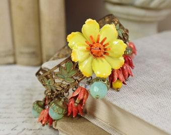Summer in Spain- Vintage Collage Bangle Bracelet- Yellow, Orange, Green- Hand Painted- enamel- Floral Charm Bracelet- One of a Kind