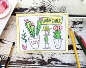 Coloring Postcard, lookin sharp, handdrawn postcard