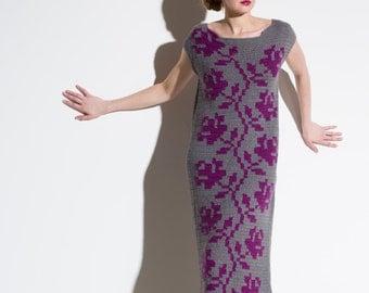 Long dress, crochet dress, grey purple dress, rose pattern dress, unique dress, handmade dress, original design dress