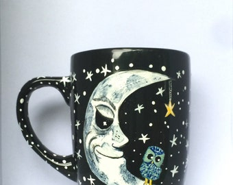 The Moon Coffee Mug - Moon - I Love You To The Moon And Back - gifts - Crescent Moon - Half Moon - Moon Art - Celestial - Owl - coffee