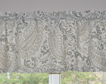Kitchen Valance . Premier Prints Shannon Ecru . Grey and Taupe Paisley  .White Background . Lined or Unlined . Handmade by Seams Original