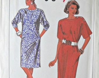 Simplicity 9097 Dress Pattern, Sizes 6 - 12, Vintage 1989