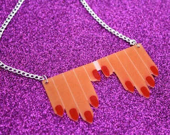 Fingers Necklace - Hands & Red Nails Mod Bib Necklace