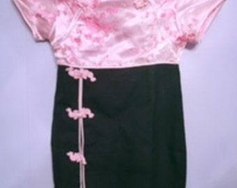 vintage black and pink asian dress,Oriental Dress