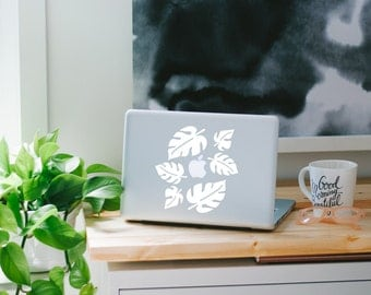 Tropical Leaf MacBook Decals - 6 White Laptop Stickers- Vinyl