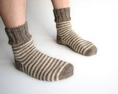 Striped Socks - EU Size 38-39 - Hand Knitted Woolen Socks - 100% Natural Wool - Warm Winter, Spring, Autumn Clothing
