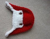Baby Santa Hat, Aviator Bomber with Furry Flap, Ear Flaps, Gingerbread Men, Red, Crochet, Beanie Hat, 3 to 6 Months, Ready to Ship