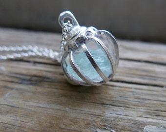 Aquamarine Necklace Raw Blue Crystal Birthstone Day Mother's Day Gifts Mom Sterling Silver March Aqua Marine Rough Women Gemstone Pendant