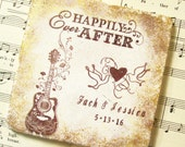 Personalized Wedding Gift Coasters, Bohemian Wedding Boho Wedding Happily Ever After and Love Birds Wedding Gift for Couples Custom Coasters