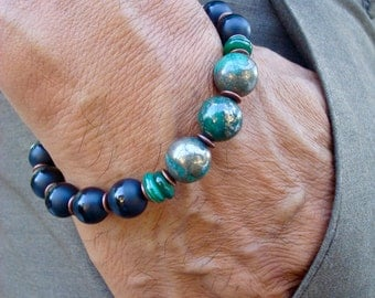 Men's Spiritual Healing, Luck, Protection, Truth, Fortune Bracelet with Semi Precious Peacock Ore/Chalcopyrite,  Onyx, Shell, Copper, Wood