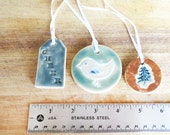 3 Christmas Ornaments. Christmas tree. Bird. Cheer. Rustic. Ceramic ornaments. Pottery ornaments. Holiday Decor. Decorations. House