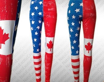 Made To Order, Custom Hand Painted USA CANADA Flag Cotton Leggings/Tights,American Flag Leggings,Canada Flag Leggings,Custom Marathon Gear