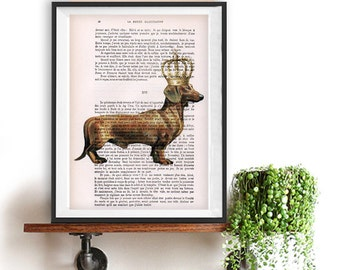 Regency Daschund Print, Daschund with a crown, Gift for men, Brown, Gold, Wall Art Prints, Daschund Art, Daschund Painting, Wall hanging
