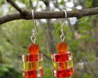 Orange and Yellow Glass Earrings