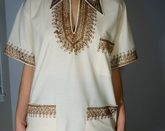 Vintage Handmade Dashiki S M L Embroidered Tunic Blouse Cream Mod Boho Psychedelic Hippie Gypsy Club Kid Grunge Tribal 70s Bohemian Festival