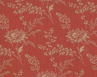 French General Favorites, Oyster Flowers, 13527 32 Red, Deep Red Background with Kakhi Colored Vines