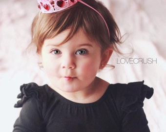 Cupids Crush || Valentine Ombre lace crown with heart jewels || photography prop || Sienna ||