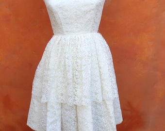 Vintage 1950s White Tiered Lace Swing Dress. Prom Formal Debutante Party Cocktail Holiday. Jonathan Logan