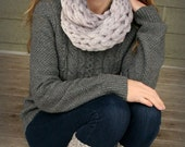 FREE SHIPPING...Hand knit Neck Warmer  : Cowl in gray color . Winter soft shawl , women