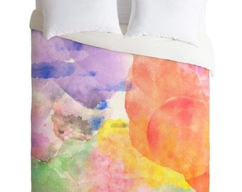 Unique watercolor colorful bedding set duvet cover, essential bedroom accessory housewarming gift, Virgo inspired home decor guest bedroom