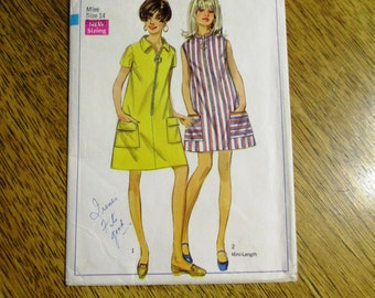 """1960s Mod Flared A-Line TENT Dress - Simple Go-Go Beach Dress - Size 14 (Bust 36"""") - VINTAGE Sewing Pattern Simplicity 7583"""