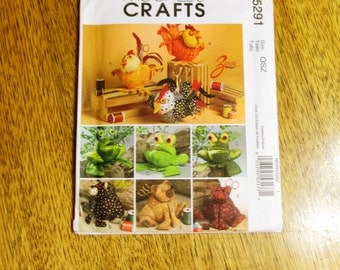 ADORABLE Stuffed Animal Sewing Caddies -  Soft Sculpture Animals (Frog / Bear / Chicken) - UNCUT Craft Sewing Pattern McCalls 5291