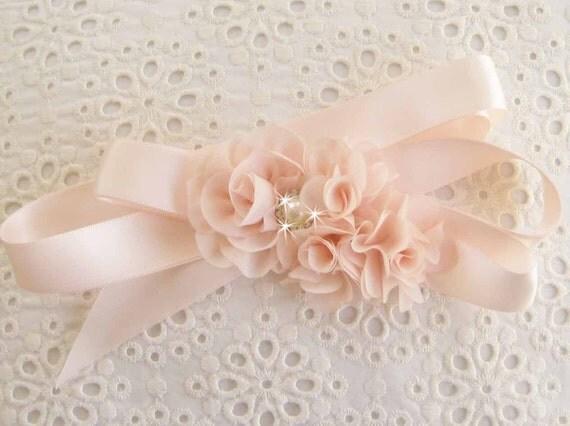 Flower Girl Sash  Wedding Sash Blush Rose Blossom Shabby Chic